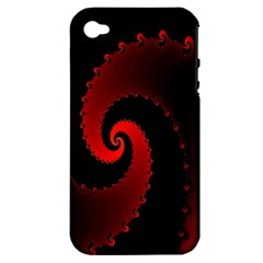 Red Fractal Spiral Apple iPhone 4/4S Hardshell Case (PC+Silicone)