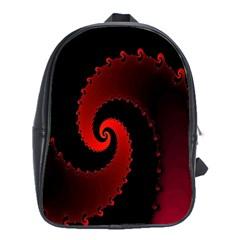 Red Fractal Spiral School Bags (XL)