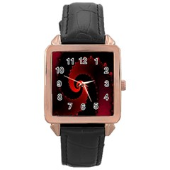 Red Fractal Spiral Rose Gold Leather Watch