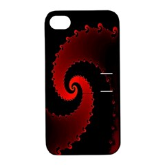 Red Fractal Spiral Apple iPhone 4/4S Hardshell Case with Stand
