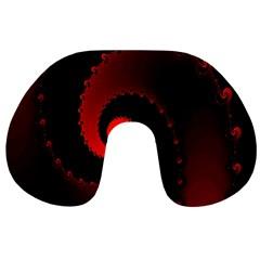 Red Fractal Spiral Travel Neck Pillows