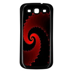 Red Fractal Spiral Samsung Galaxy S3 Back Case (Black)