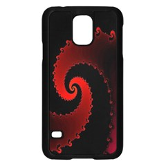 Red Fractal Spiral Samsung Galaxy S5 Case (Black)