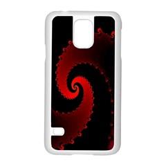 Red Fractal Spiral Samsung Galaxy S5 Case (white)