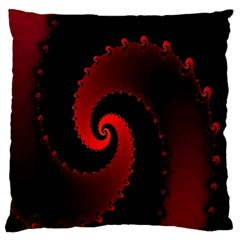Red Fractal Spiral Large Flano Cushion Case (Two Sides)