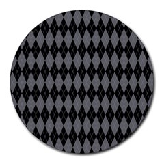 Chevron Wave Line Grey Black Triangle Round Mousepads