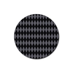 Chevron Wave Line Grey Black Triangle Rubber Round Coaster (4 pack)