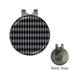 Chevron Wave Line Grey Black Triangle Hat Clips with Golf Markers