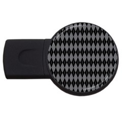 Chevron Wave Line Grey Black Triangle USB Flash Drive Round (4 GB)