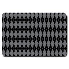 Chevron Wave Line Grey Black Triangle Large Doormat