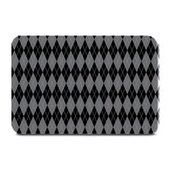 Chevron Wave Line Grey Black Triangle Plate Mats
