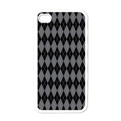 Chevron Wave Line Grey Black Triangle Apple iPhone 4 Case (White)