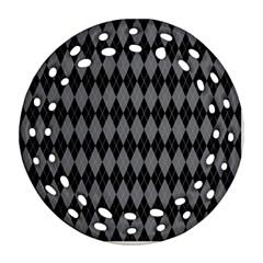 Chevron Wave Line Grey Black Triangle Ornament (Round Filigree)