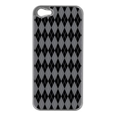 Chevron Wave Line Grey Black Triangle Apple iPhone 5 Case (Silver)