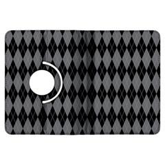 Chevron Wave Line Grey Black Triangle Kindle Fire HDX Flip 360 Case
