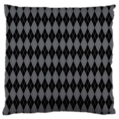 Chevron Wave Line Grey Black Triangle Large Flano Cushion Case (Two Sides)