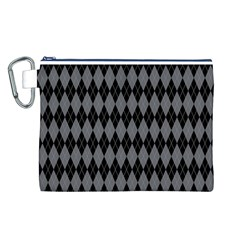 Chevron Wave Line Grey Black Triangle Canvas Cosmetic Bag (L)