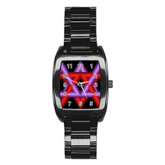 Star Of David Stainless Steel Barrel Watch