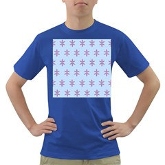 Flower Floral Different Colours Blue Purple Dark T Shirt