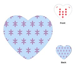Flower Floral Different Colours Blue Purple Playing Cards (Heart)
