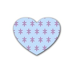 Flower Floral Different Colours Blue Purple Rubber Coaster (Heart)