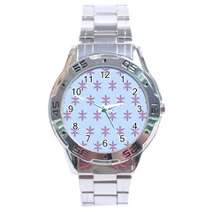 Flower Floral Different Colours Blue Purple Stainless Steel Analogue Watch