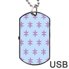 Flower Floral Different Colours Blue Purple Dog Tag USB Flash (Two Sides)