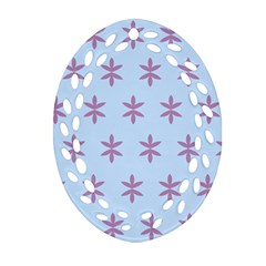 Flower Floral Different Colours Blue Purple Ornament (Oval Filigree)