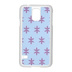 Flower Floral Different Colours Blue Purple Samsung Galaxy S5 Case (White)