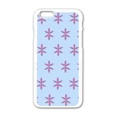 Flower Floral Different Colours Blue Purple Apple Iphone 6/6s White Enamel Case