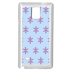 Flower Floral Different Colours Blue Purple Samsung Galaxy Note 4 Case (White)