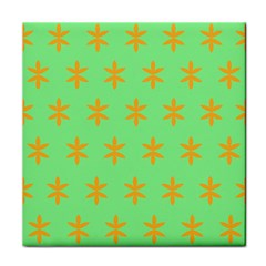 Flower Floral Different Colours Green Orange Tile Coasters