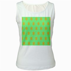 Flower Floral Different Colours Green Orange Women s White Tank Top