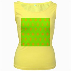 Flower Floral Different Colours Green Orange Women s Yellow Tank Top