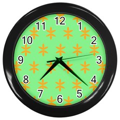 Flower Floral Different Colours Green Orange Wall Clocks (Black)