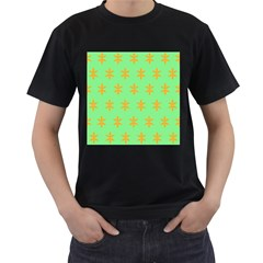 Flower Floral Different Colours Green Orange Men s T Shirt (black) (two Sided)