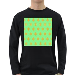 Flower Floral Different Colours Green Orange Long Sleeve Dark T Shirts