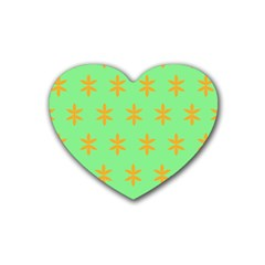 Flower Floral Different Colours Green Orange Heart Coaster (4 pack)