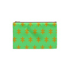 Flower Floral Different Colours Green Orange Cosmetic Bag (Small)