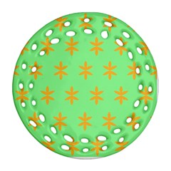 Flower Floral Different Colours Green Orange Ornament (Round Filigree)