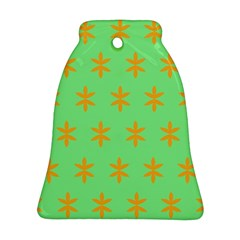 Flower Floral Different Colours Green Orange Ornament (bell)