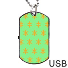 Flower Floral Different Colours Green Orange Dog Tag USB Flash (Two Sides)