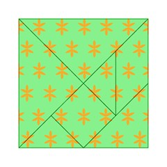 Flower Floral Different Colours Green Orange Acrylic Tangram Puzzle (6  x 6 )
