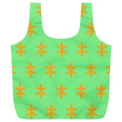 Flower Floral Different Colours Green Orange Full Print Recycle Bags (L)