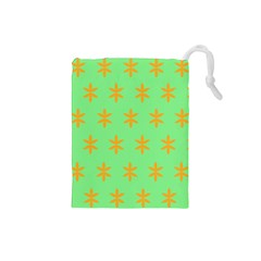 Flower Floral Different Colours Green Orange Drawstring Pouches (Small)