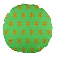 Flower Floral Different Colours Green Orange Large 18  Premium Flano Round Cushions