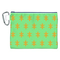 Flower Floral Different Colours Green Orange Canvas Cosmetic Bag (XXL)