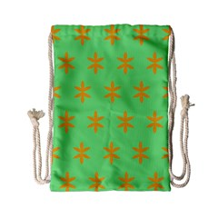 Flower Floral Different Colours Green Orange Drawstring Bag (Small)