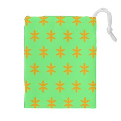 Flower Floral Different Colours Green Orange Drawstring Pouches (extra Large)
