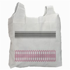 Crown King Quinn Chevron Wave Pink Black Recycle Bag (Two Side)